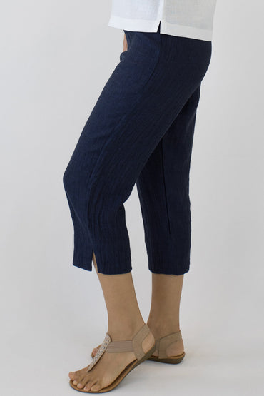 CRINKLE LINEN 7/8 PANTS-INDIGO-SIDE