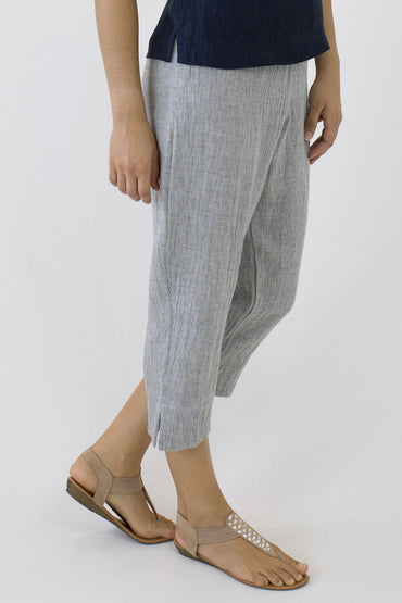 CRINKLE LINEN 7/8 PANTS-PALE GREY-SIDE