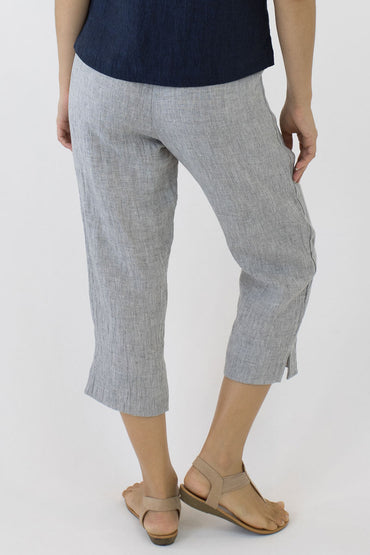 CRINKLE LINEN 7/8 PANTS-PALE GREY-BACK