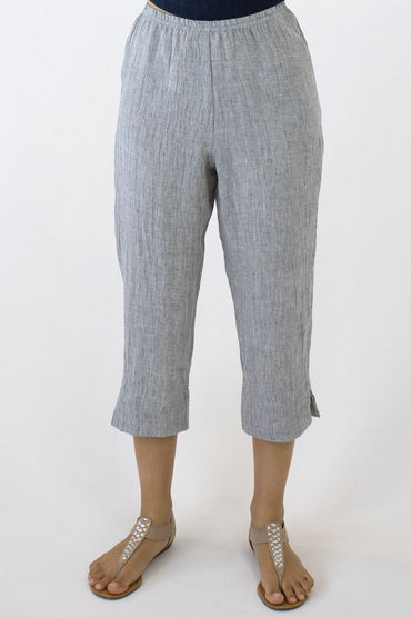 CRINKLE LINEN 7/8 PANTS-PALE GREY-WAIST BAND