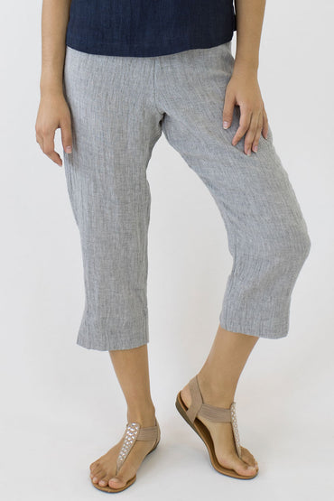 CRINKLE LINEN 7/8 PANTS-PALE GREY