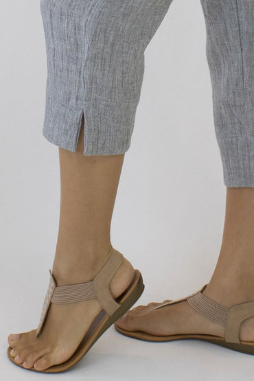 CRINKLE LINEN 7/8 PANTS-PALE GREY-SPLIT