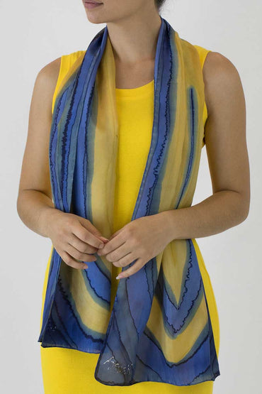 SILK SCARF GBR-08  Blue Striped Flatworm