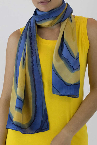 GBR-08 SILK SCARF - Blue Striped Flatworm