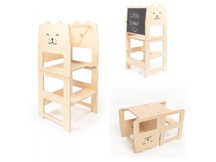 Tour d'observation et d'apprentissage Montessori - Tabouret Montessori -   Chat Naturel - Montessori