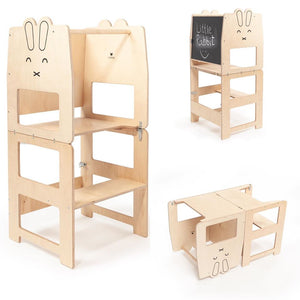 Tour - Tabouret d'apprentissage Lapin Naturel - Montessori