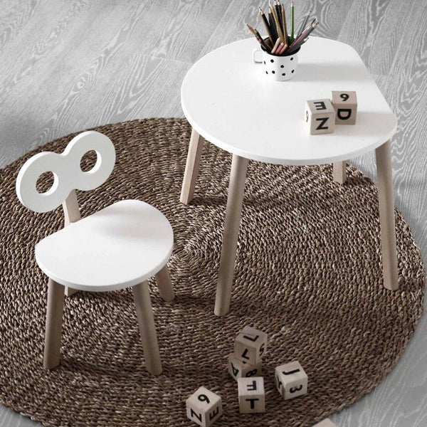 Table Half-Moon + 1 Chaise Double-O - blanc/naturel - OOH NOO