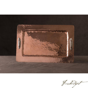 Copper Rectangular Tray with Antler Handles-Fussbudget.com