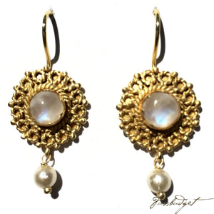 Emma Gemstone Earring with Pearl Drop -Moonstone