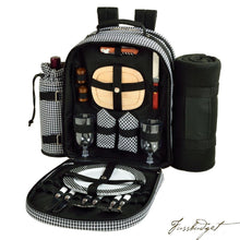 Load image into Gallery viewer, Deluxe Equipped 2 Person Picnic Backpack w/Blanket -Houndstooth