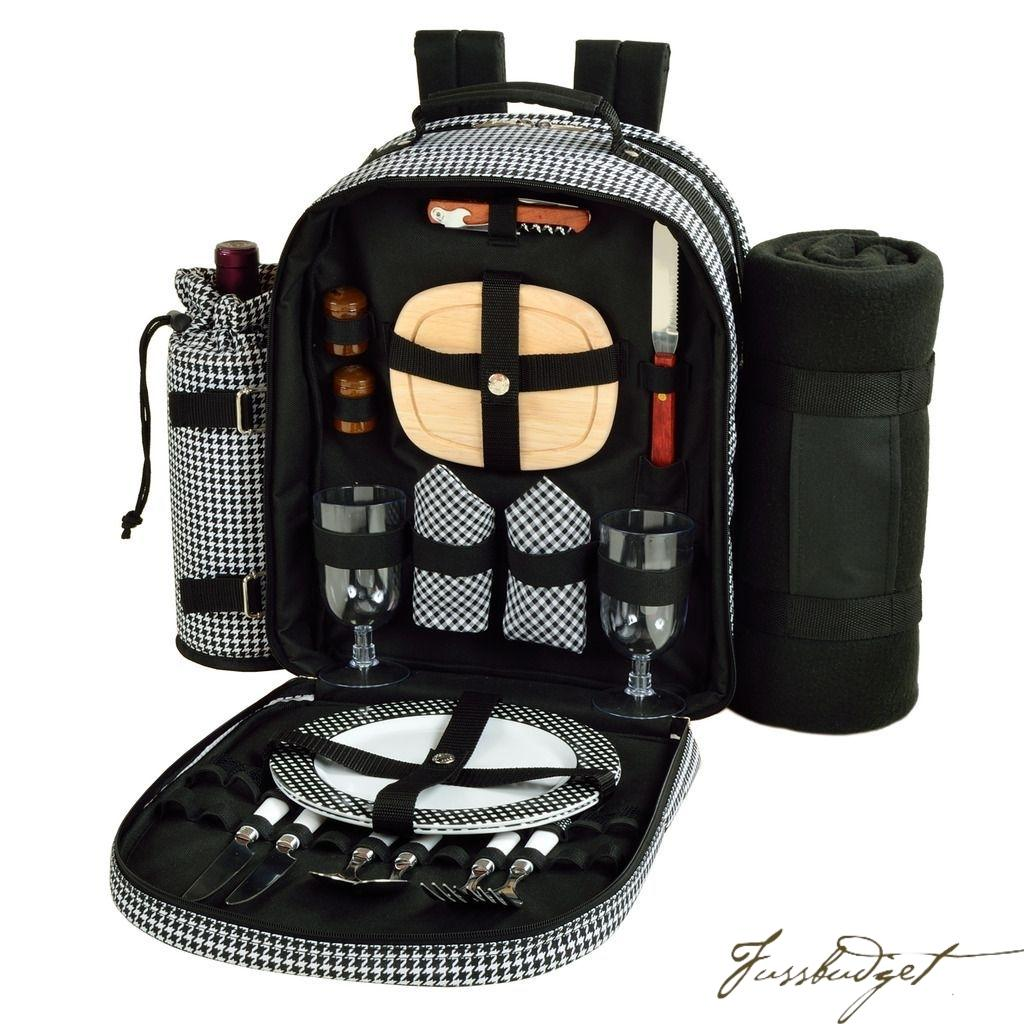 Deluxe Equipped 2 Person Picnic Backpack w/Blanket -Houndstooth