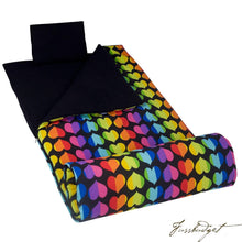 Load image into Gallery viewer, Rainbow Hearts Original Sleeping Bag-Fussbudget.com