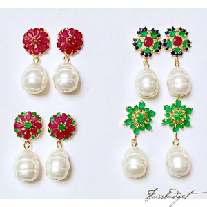 Jolly Semiprecious Stone and Baroque Pearl Earrings