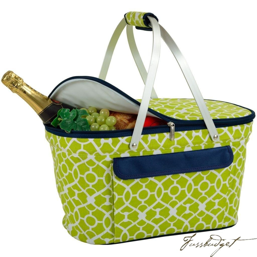 Insulated Market Basket / Picnic Tote  - Trellis Green