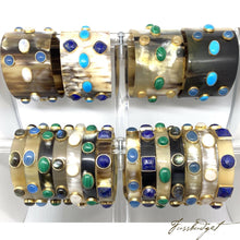 Load image into Gallery viewer, Horn Bangle with Stones