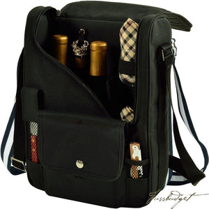 Bordeaux Wine & Cheese Cooler Bag w/Glass Wine Glasses Equipped for 2