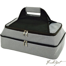 Load image into Gallery viewer, Two Layer, Hot/Cold Thermal Food/Casserole Carrier - Houndstooth