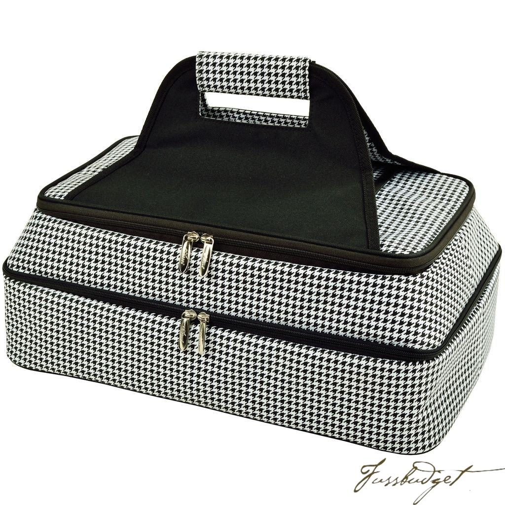 Two Layer, Hot/Cold Thermal Food/Casserole Carrier - Houndstooth