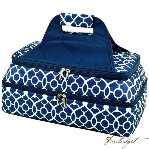 Two Layer, Hot/Cold Thermal Food/Casserole Carrier - Trellis Blue