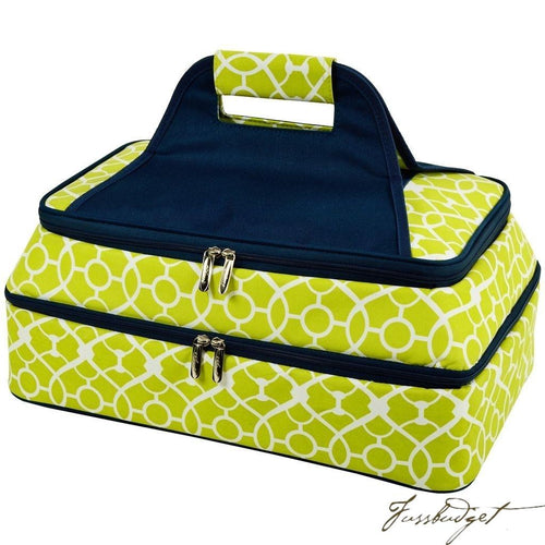Two Layer, Hot/Cold Thermal Food/Casserole Carrier -Trellis Green