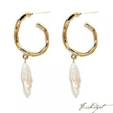 Gold Hoops with Baroque Pearl Drop Earrings