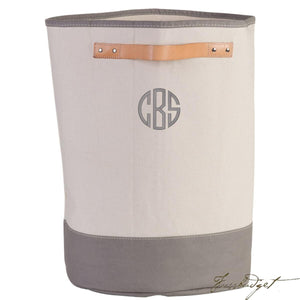 Monogrammed Hamper Storage Leather Handle