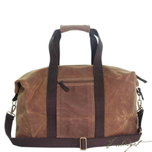 Load image into Gallery viewer, Monogrammed Waxed Canvas Voyager Bag