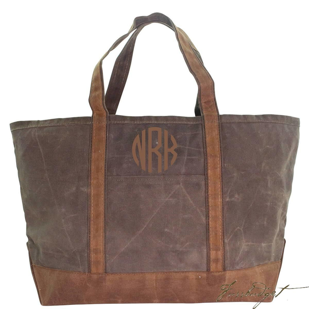 Monogrammed Large Waxed Canvas Boat Tote - aka The Man Bag