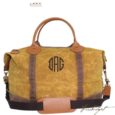 Monogrammed Waxed Canvas Weekender Bag