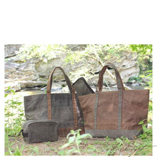 "Load image into Gallery viewer, Monogrammed Medium Waxed Canvas Boat Tote - AKA ""The Man Bag"""