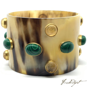 Horn Bangle with Stones - Large