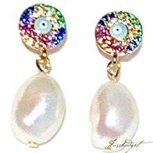 Load image into Gallery viewer, Rainbow Pave Eye and Pearl Earrings