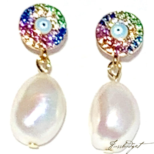 Rainbow Pave Eye and Pearl Earrings