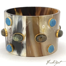 Load image into Gallery viewer, Horn Bangle with Stones - Large