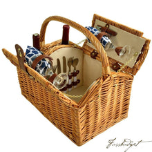 Load image into Gallery viewer, Vineyard Willow Picnic Basket Equipped for 2 -Trellis Blue