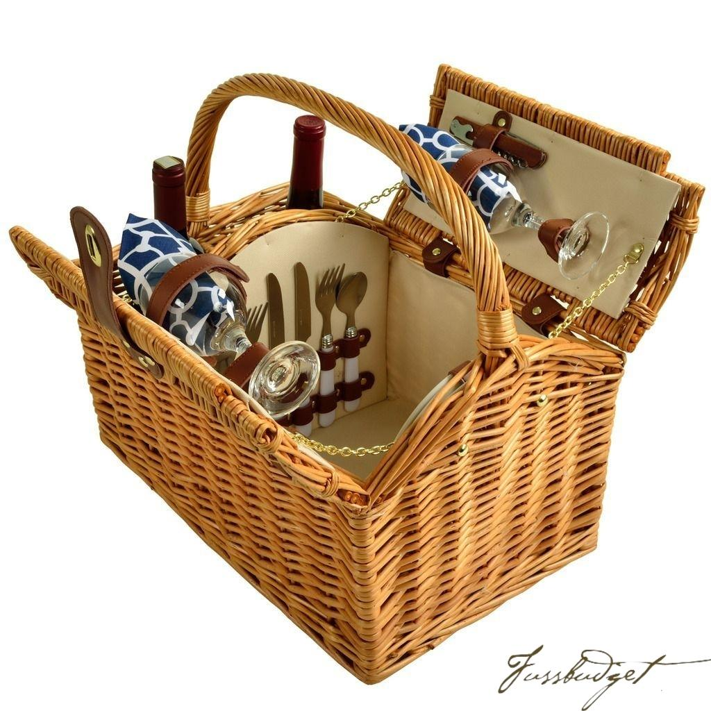Vineyard Willow Picnic Basket Equipped for 2 -Trellis Blue