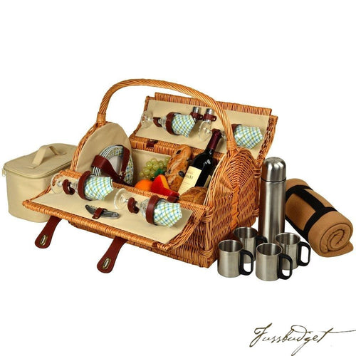 Yorkshire Picnic Basket for 4 w/Blanket & Coffee - Gazebo