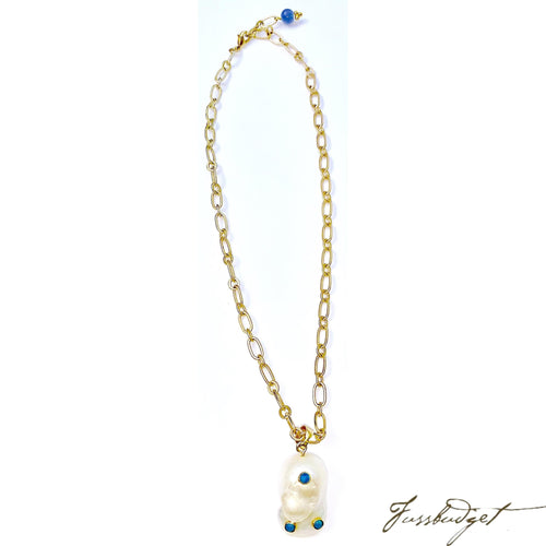 Baroque Pearl and Turquoise Pendant on Matte Gold Necklace
