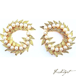 Gold Wreath Earrings with Pearls