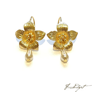 Audrey Flower Earrings with Pearl Drop