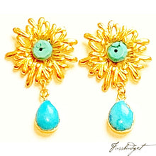 Load image into Gallery viewer, Turquoise Sun Earrings