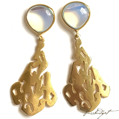 Opalite and Gold Earrings