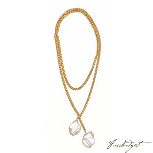 Mary Frances - Braided Matte Gold Chain Lariat with Baroque Pearls