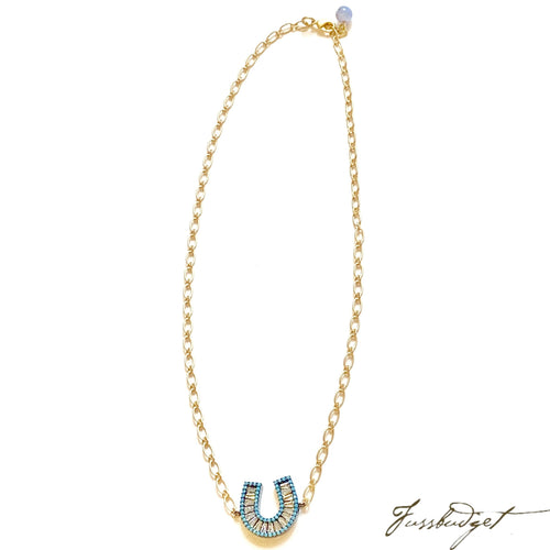 Pave diamond and Turquoise Horseshoe Necklace