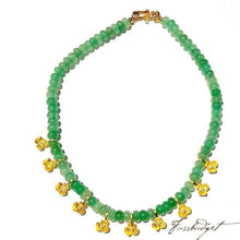 Load image into Gallery viewer, Aventurine Choker with Matte Gold Flower Spacers