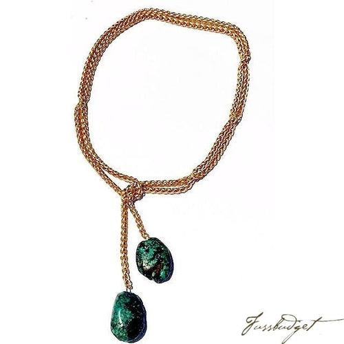 Braided Matte Gold Chain Lariat with Turquoise-Fussbudget.com