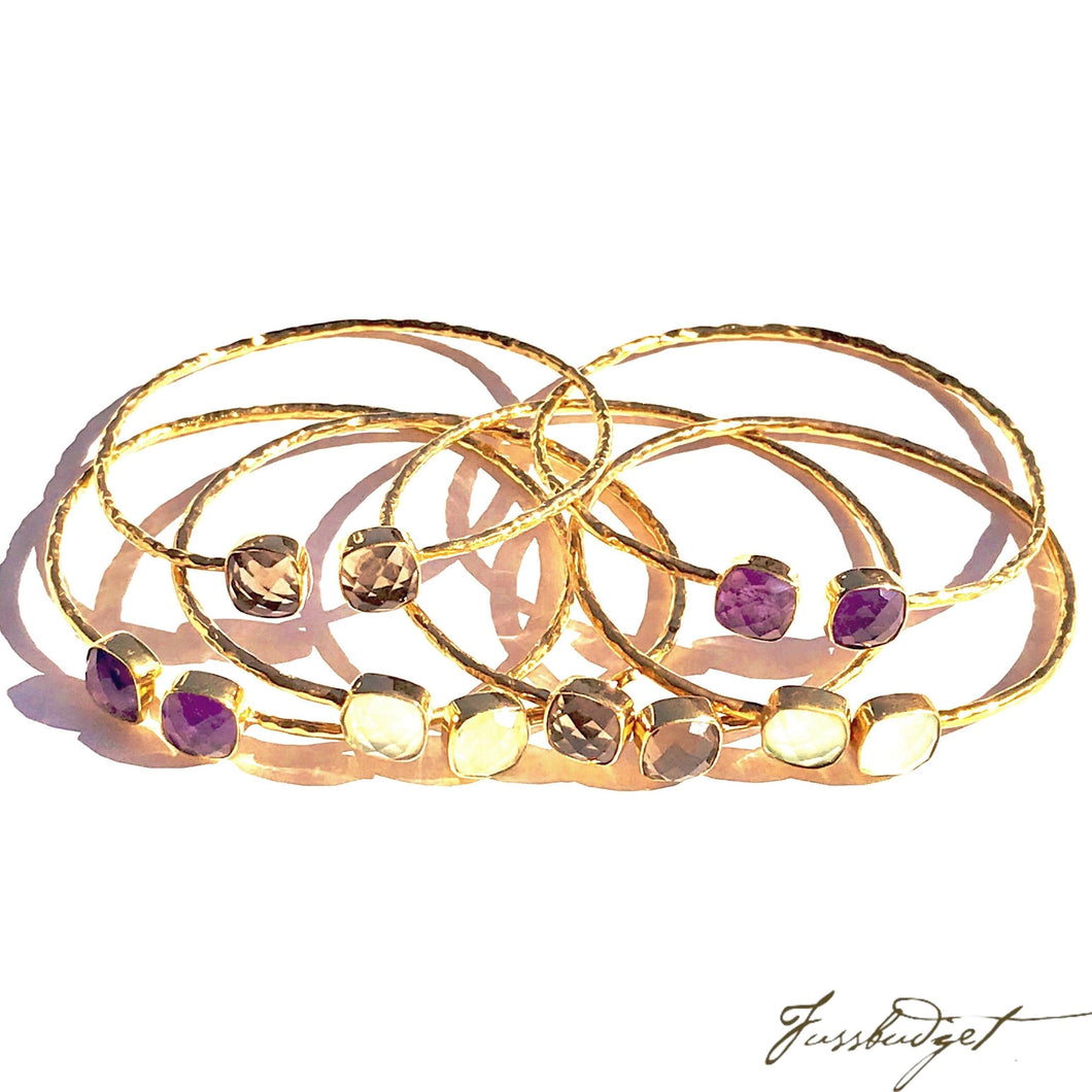Hammered Bangles with Semiprecious Stones