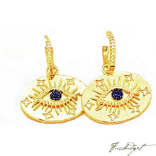 Load image into Gallery viewer, Evil Eye Pave Earrings on Gold Hoops