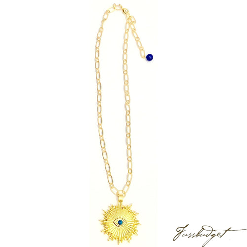 Sunburst God's Eye Alyssa Pendant on Matte Gold Necklace
