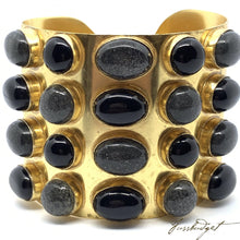 Load image into Gallery viewer, Wonder Woman Cuff Four Row - Black Onyx and Sandstone